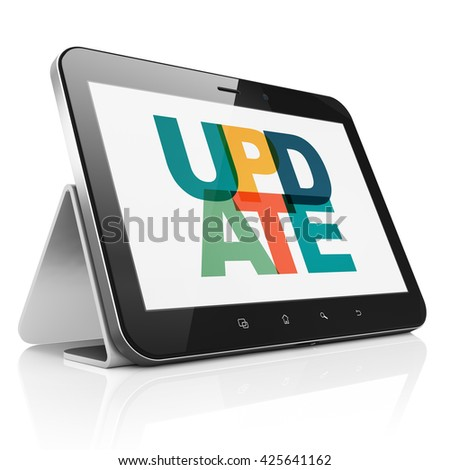 Web development concept: Tablet Computer with Painted multicolor text Update on display, 3D rendering - stock photo