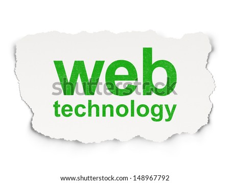 Web development concept: torn paper with words Web Technology on Paper background, 3d render - stock photo