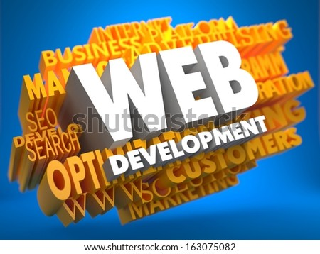 Web Development on White Color on Cloud of Yellow Words on Blue Background. Internet Concept. - stock photo