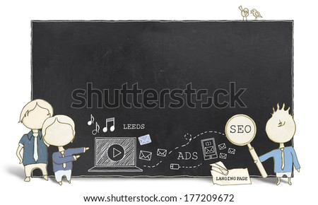 Web Experts with Blank Blackboard on White Background  - stock photo