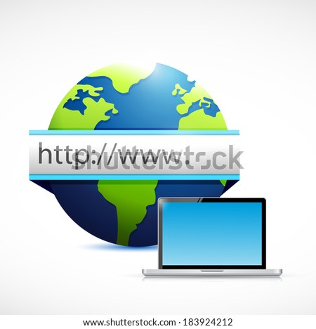 web globe search bar and computer laptop. illustration design over a white background - stock photo