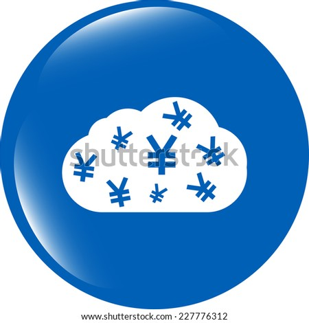 web icon cloud with yen sign, web button isolated on white - stock photo