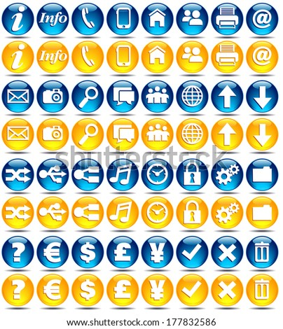 Web icons - Glossy Series in Blue and Orange - Yellow mobile application icons - Raster Versions - stock photo