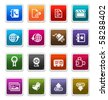 Web & Internet Sticker Icons 3 isolated over white background - sticker series - stock photo