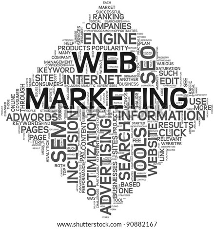 Web marketing and seo concept in word tag cloud on white background. - stock photo