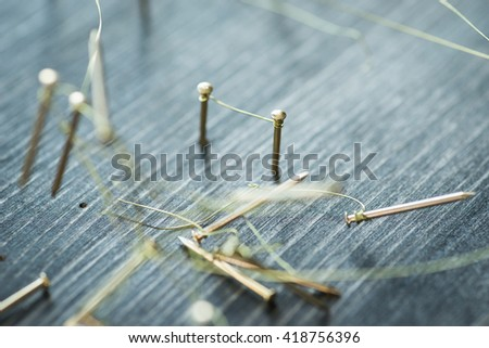 Web of wires, showing broken connections between groups and individuals - stock photo