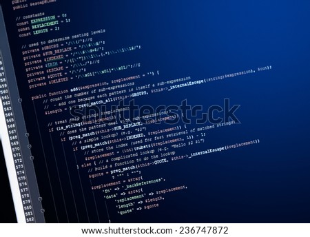 web page generic javascript code on computer monitor - stock photo