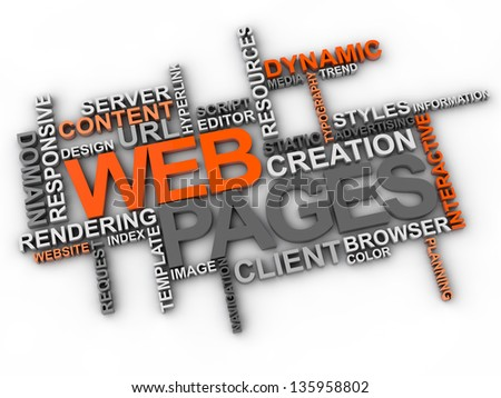 web pages word cloud over white background - stock photo