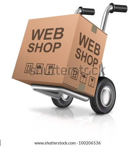 web shop icon online internet shopping concept cardboard box with text on a hand truck e-commerce - stock photo