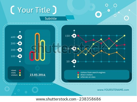 Web site analytics charts on screen of PC. SEO Search Engine Optimization programming business up trend statistics infographics diagram in flat design style. Raster version - stock photo