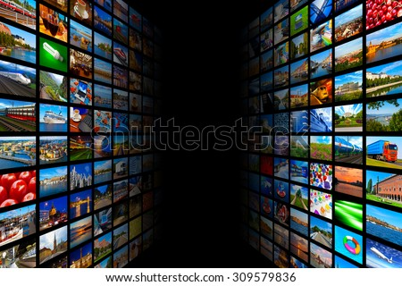 Web streaming media TV video technology and multimedia business internet communication concept: background with endless walls of screens with color photos and colorful displays with different images