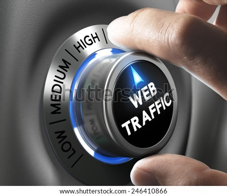 Web traffic button pointing high position with two fingers, blue and grey tones, Conceptual image for internet seo. - stock photo