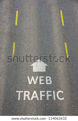 Web Traffic concept road marking with directional arrow - stock photo
