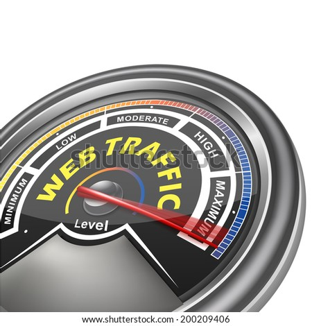 web traffic conceptual meter indicator isolated on white background - stock photo