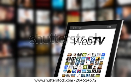 Web TV concept, tablet with many icons and LCD panels - stock photo