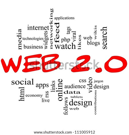 Web 2.0 Word Cloud Concept in red and black letters with great terms such as social, media, blogs, tablets, web, feed, viral, likes, wikis, tags and more - stock photo