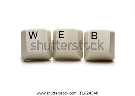 web - world wide web written with computer keys, isolated on white - stock photo