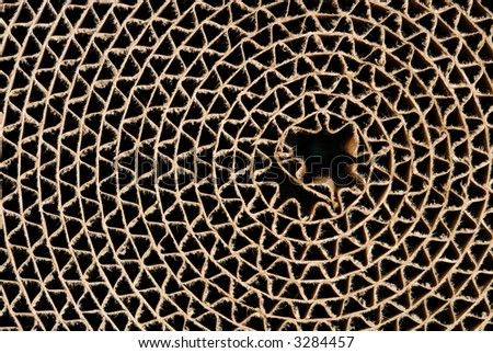 Webbed circle made from  brown cardboard - stock photo