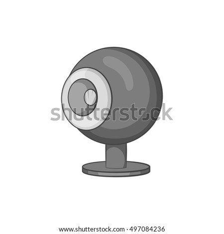 Webcam icon in black monochrome style isolated on white background. Video symbol  illustration