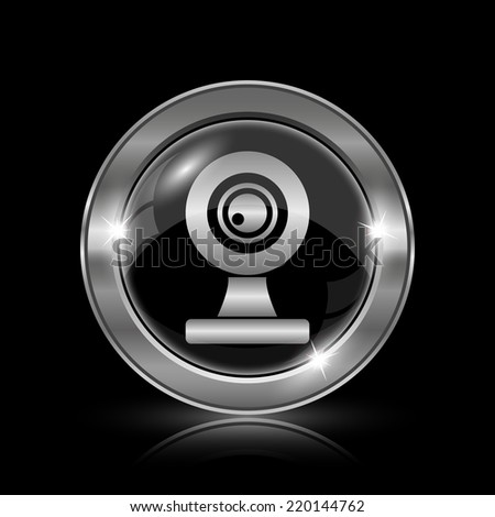 Webcam icon. Internet button on black background.  - stock photo