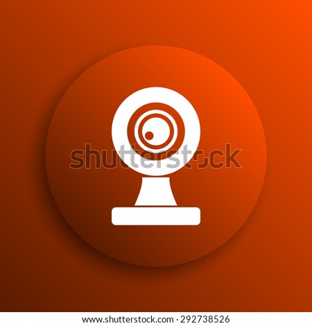 Webcam icon. Internet button on orange background  - stock photo