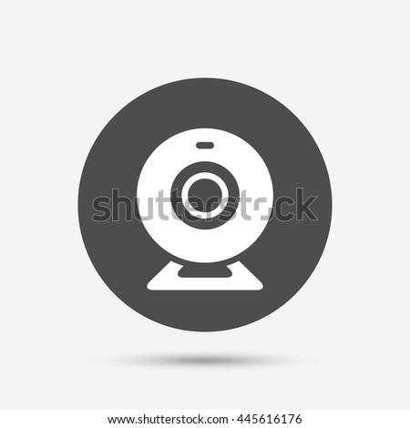 Webcam sign icon. Web video chat symbol. Camera chat. Gray circle button with icon.