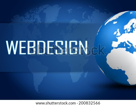 Webdesign concept with globe on blue background - stock photo