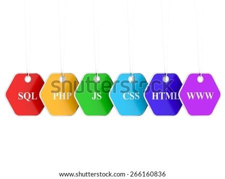 Webdesign Internet Concept - important symbols - stock photo