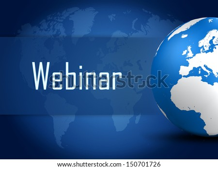 Webinar concept with globe on blue world map background - stock photo