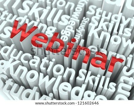"""Webinar Concept. Word """"Webinar"""" of Red Color Located on other Gray Words. - stock photo"""
