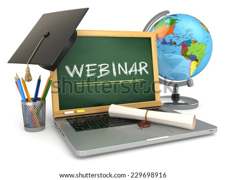 Webinar education concept. Laptop with blackboard, mortar board and diploma. 3d - stock photo