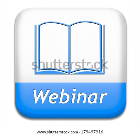 webinar online conference internet web meeting or workshop live video chat - stock photo