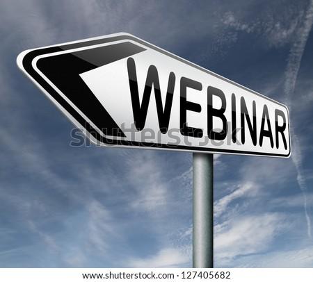 webinar online internet web conference or workshop true video chat - stock photo