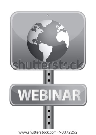 webinar street sign and globe illustration design - stock photo