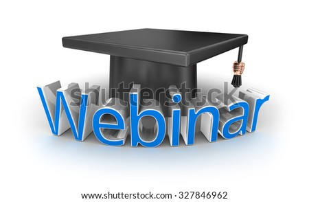 Webinar text and hat, 3d Concept - stock photo