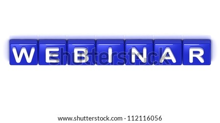 Webinar word on blue cubes on white background - stock photo
