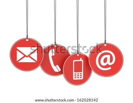 Website and Internet contact us page concept with icons on four red hanged tags on white background. - stock photo