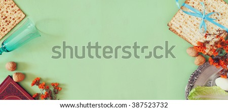 website banner background of Pesah celebration concept (jewish Passover holiday)  - stock photo