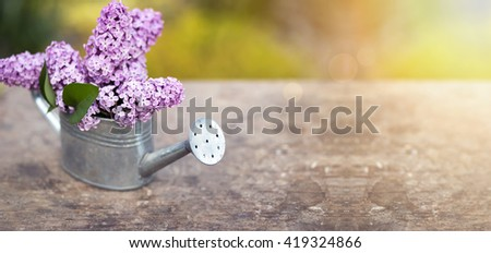 Website banner of beautiful lilac flower bouquet in spring