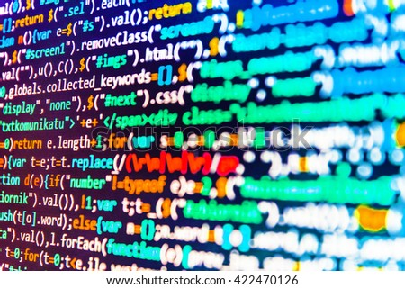 Website codes on computer monitor. Technology background. Computer program. Developer working on program codes in office. Programming code.  Programming code abstract screen of software developer.   - stock photo