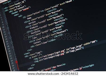 website development - programming code on computer screen - stock photo