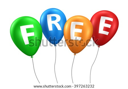 Website, Internet and blog concept with free word and sign on colorful balloons 3D illustration isolated on white background. - stock photo