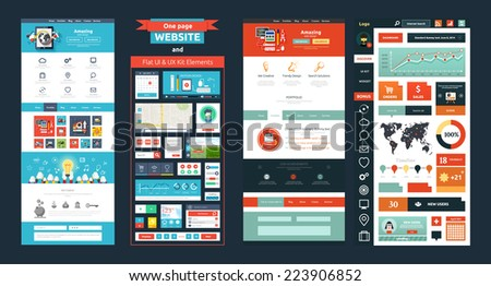 Website page template. Web design. Set of web page with icons for different websites in flat style. One page website flat ui and ux kit elements icons. Raster version - stock photo
