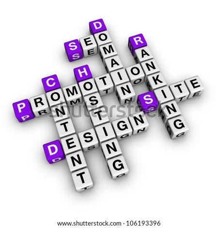 website promotion (cubes crossword series) - stock photo