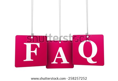 Website support, questioning and help concept with red FAQ sign on tags isolated on white background. - stock photo