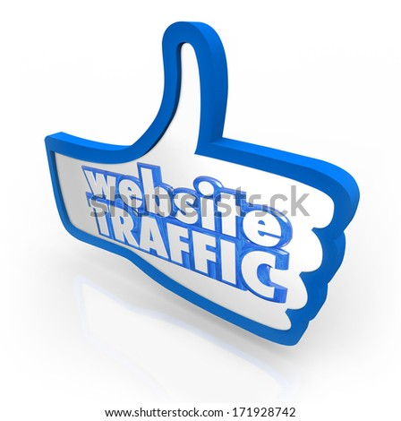 Website Traffic Thumb Up Increased Online Views Reputation - stock photo