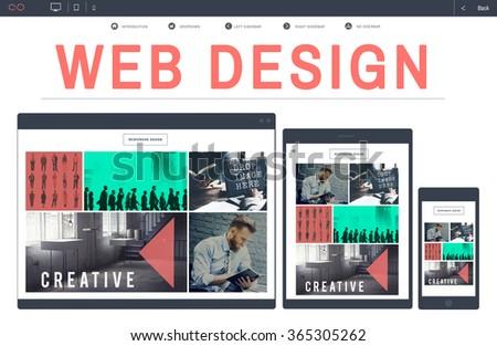Website Web Design WWW Homepage Digital Device Concept - stock photo