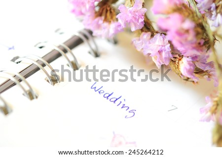 wedding agenda on time planner - stock photo