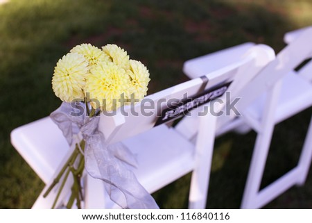 Wedding Aisle Decor Chair Detail - stock photo