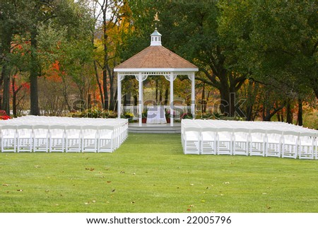 Wedding alter ready for an autumn ceremony - stock photo